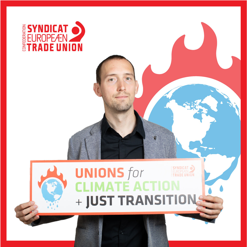 ETUC Confederal Secretary Ludovic Voet supporting a socially just ecological transition