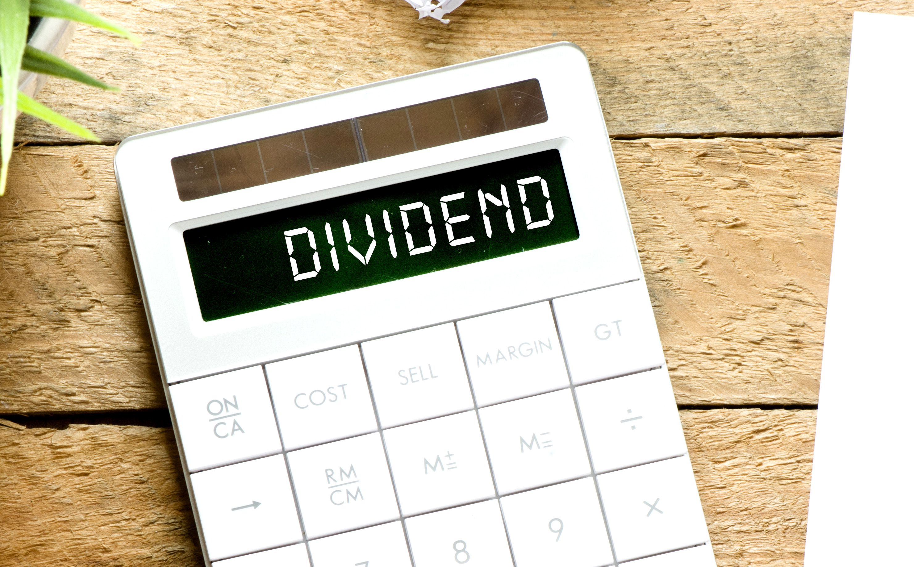 calculator showing the word dividend