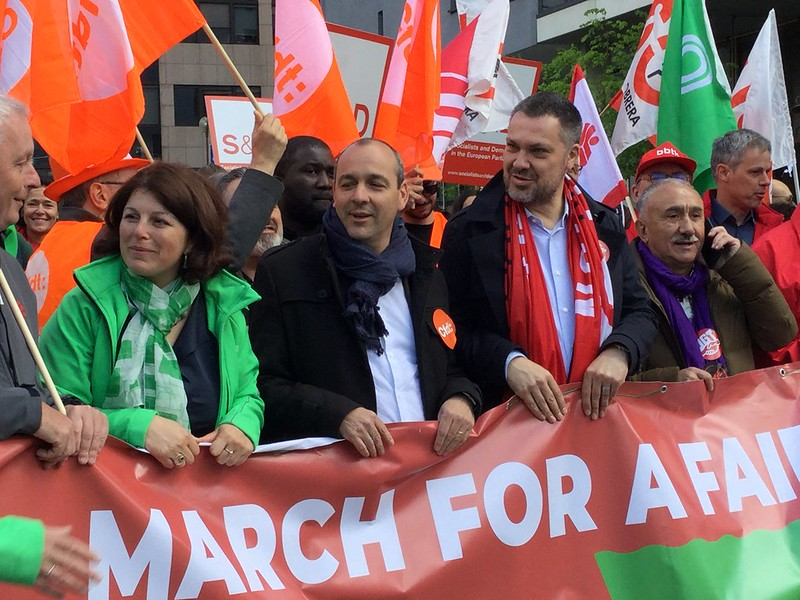 ETUC demonstrating for fairer Europe for workers
