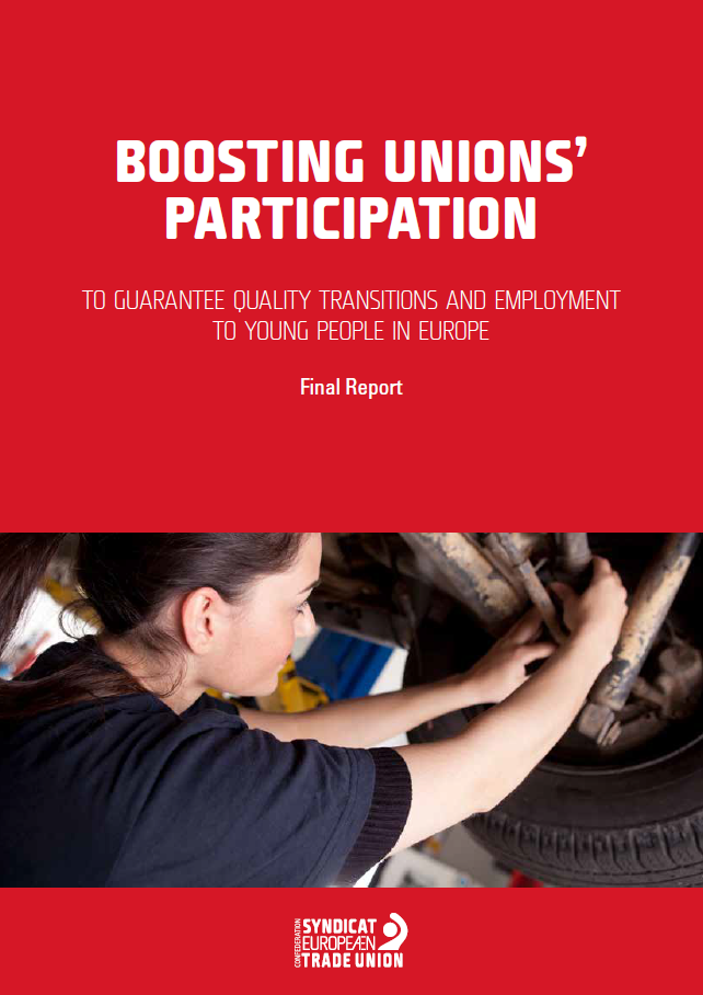 "Cover of the report ""Boosting unions' participation to guarantee quality transitions and employment to young people in Europe"""
