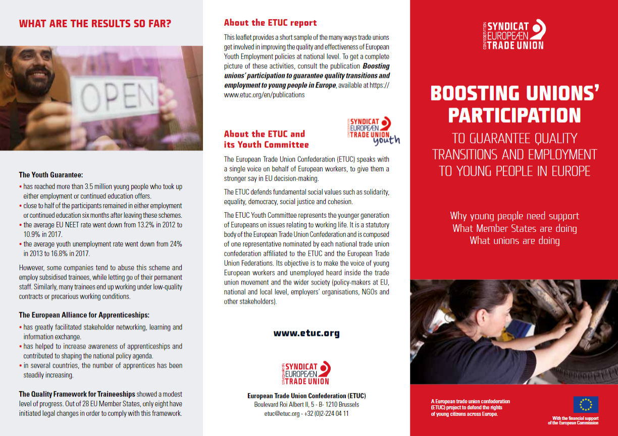 "Cover of the leaflet ""Boosting unions' participation to guarantee quality transitions and employment to young people in Europe"""