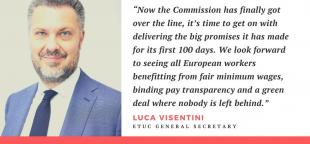 Luca Visentini quote on the new European Commission