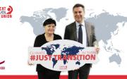 ETUC General Secretary Luca Visentini supporting a just transition