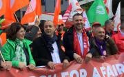 Luca Visentini & trade unions leaders march for a fairer Europe for workers