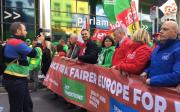 ETUC demonstrating for a fairer Europe for workers